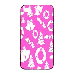 Pink Christmas Background Apple Iphone 4/4s Seamless Case (black)