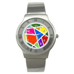 Geometric Blocks Stainless Steel Watch by Nexatart