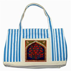 Tree Of Life Striped Blue Tote Bag by Nexatart
