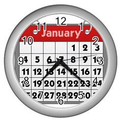 Calendar Clip January Wall Clocks (silver)  by Jojostore