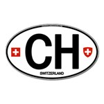 CH - Switzerland Euro Oval Magnet (Oval)