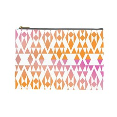 Geometric Abstract Orange Purple Pattern Cosmetic Bag (large)  by Nexatart