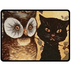 Owl And Black Cat Fleece Blanket (large)