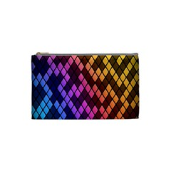 Colorful Abstract Plaid Rainbow Gold Purple Blue Cosmetic Bag (small)  by Alisyart