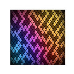 Colorful Abstract Plaid Rainbow Gold Purple Blue Small Satin Scarf (square) by Alisyart