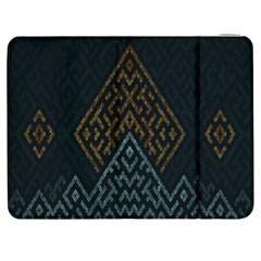 Geometric Triangle Grey Gold Samsung Galaxy Tab 7  P1000 Flip Case