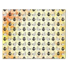Goose Swan Anchor Gold Rectangular Jigsaw Puzzl by Alisyart