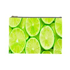 Green Lemon Slices Fruite Cosmetic Bag (large)  by Alisyart