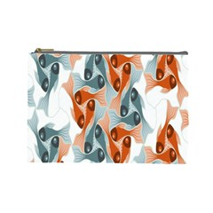 School Fish  Orange Grey Cosmetic Bag (large)  by Alisyart