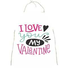 I Love You My Valentine (white) Our Two Hearts Pattern (white) Full Print Aprons