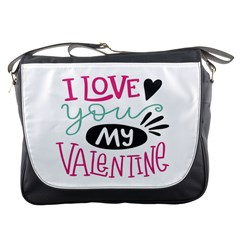 I Love You My Valentine (white) Our Two Hearts Pattern (white) Messenger Bags