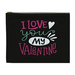 I Love You My Valentine / Our Two Hearts Pattern (black) Cosmetic Bag (xl) by FashionFling