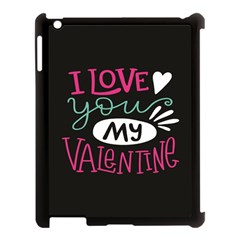 I Love You My Valentine / Our Two Hearts Pattern (black) Apple Ipad 3/4 Case (black)
