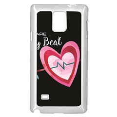 You Are My Beat / Pink And Teal Hearts Pattern (black)  Samsung Galaxy Note 4 Case (white)