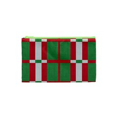 Fabric Green Grey Red Pattern Cosmetic Bag (xs) by Nexatart