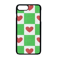 Fabric Texture Hearts Checkerboard Apple Iphone 7 Plus Seamless Case (black) by Nexatart