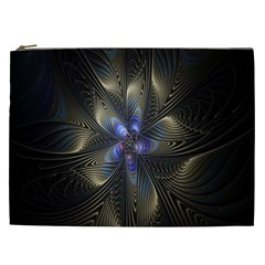 Fractal Blue Abstract Fractal Art Cosmetic Bag (xxl)  by Nexatart