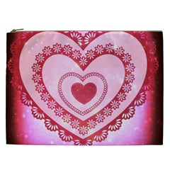 Heart Background Lace Cosmetic Bag (xxl)  by Nexatart
