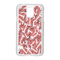 Merry Christmas Xmas Pattern Samsung Galaxy S5 Case (white) by Nexatart