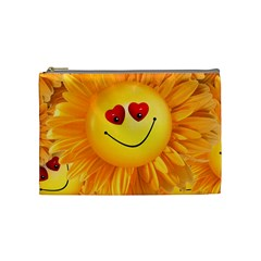 Smiley Joy Heart Love Smile Cosmetic Bag (medium)  by Nexatart