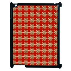 Snowflakes Square Red Background Apple Ipad 2 Case (black)