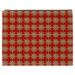 Snowflakes Square Red Background Cosmetic Bag (xxxl)  by Nexatart