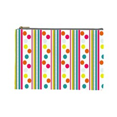 Stripes Polka Dots Pattern Cosmetic Bag (large)  by Nexatart