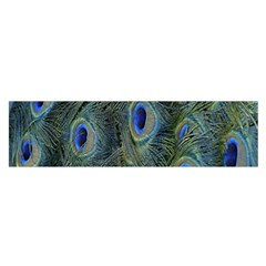 Peacock Feathers Blue Bird Nature Satin Scarf (oblong) by Amaryn4rt