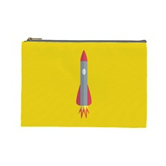 Plane Rocket Space Yellow Cosmetic Bag (large)  by Alisyart