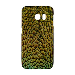 Peacock Bird Feather Gold Blue Brown Galaxy S6 Edge by Alisyart