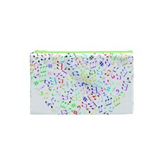 Prismatic Musical Heart Love Notes Rainbow Cosmetic Bag (xs) by Alisyart