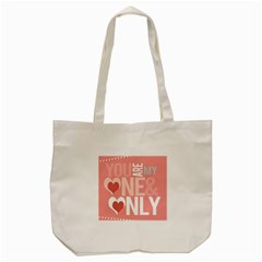 Valentines Day One Only Pink Heart Tote Bag (cream)