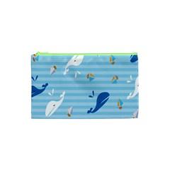 Whaling Ship Blue Sea Beach Animals Cosmetic Bag (xs) by Alisyart