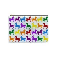 Colorful Horse Background Wallpaper Cosmetic Bag (medium)  by Amaryn4rt