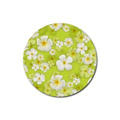 Frangipani Flower Floral White Green Rubber Coaster (round)