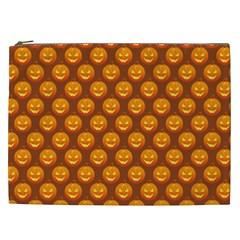 Pumpkin Face Mask Sinister Helloween Orange Cosmetic Bag (xxl)  by Alisyart