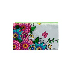 Flowers Pattern Vector Art Cosmetic Bag (xs) by Amaryn4rt