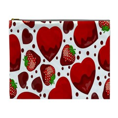 Strawberry Hearts Cocolate Love Valentine Pink Fruit Red Cosmetic Bag (xl) by Alisyart