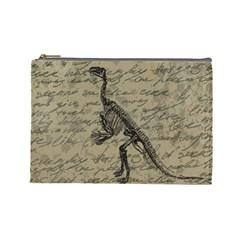 Dinosaur Skeleton Cosmetic Bag (large)  by Valentinaart