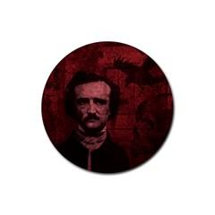 Edgar Allan Poe  Rubber Coaster (round)  by Valentinaart