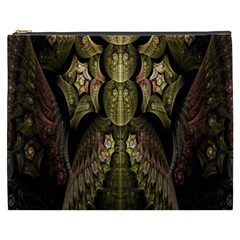 Fractal Abstract Patterns Gold Cosmetic Bag (xxxl)  by Simbadda