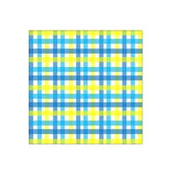 Gingham Plaid Yellow Aqua Blue Satin Bandana Scarf by Simbadda