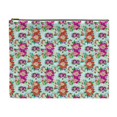 Floral Flower Pattern Seamless Cosmetic Bag (xl) by Simbadda