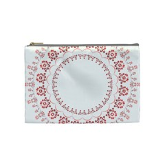 Floral Frame Pink Red Star Leaf Flower Cosmetic Bag (medium)  by Alisyart