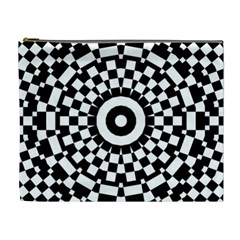 Checkered Black White Tile Mosaic Pattern Cosmetic Bag (xl) by CrypticFragmentsColors