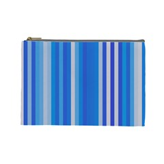 Color Stripes Blue White Pattern Cosmetic Bag (large)  by Simbadda