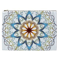 Prismatic Flower Floral Star Gold Green Purple Orange Cosmetic Bag (xxl)