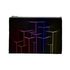 Space Light Lines Shapes Neon Green Purple Pink Cosmetic Bag (large)  by Alisyart
