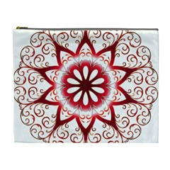 Prismatic Flower Floral Star Gold Red Orange Cosmetic Bag (xl) by Alisyart