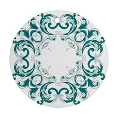 Vintage Floral Style Frame Round Ornament (two Sides)